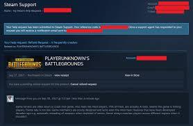 pubg steam steam community pubg refund request
