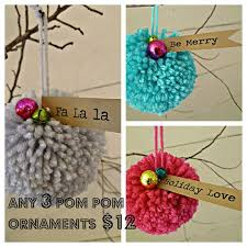 set of 3 pom pom ornaments by oohlalaco on etsy pom