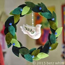 felt peace wreath tutorial betz white