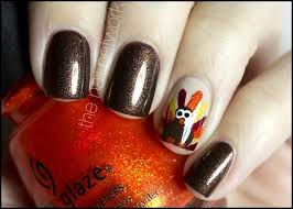 brown gel nails with accent turkey design thanksgiving nail