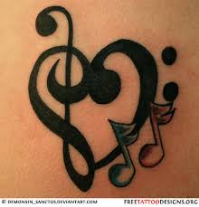 feminine music notes tattoo on back real photo pictures images