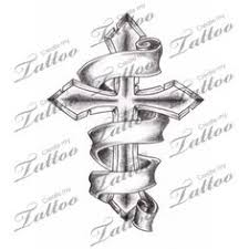 marketplace tattoo shaded cross with 3 banners 2944