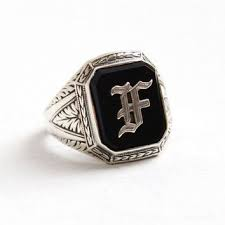 Monogrammed Silver Ring Best Onyx Signet Ring Products On Wanelo