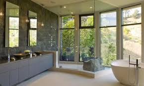 Contemporary Bathroom Design Ideas by Modern Bathroom Decorating Ideas Patterned Tile Flooring U Shaped