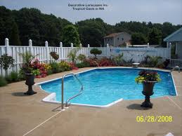 pool landscaping tropical oasis by pool in ma colorful planters