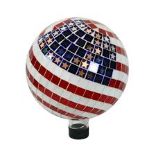 Home Depot Garden Flags Alpine 10 In Mosaic American Flag Gazing Ball Grs688 The Home Depot