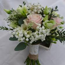 hand tied bouquet of gypsophila sweet avalanche rose lisianthus