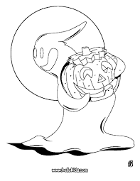 ghost with a pumpkin coloring pages hellokids com