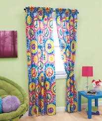 Retro Window Curtains Peace Sign Tie Dye Groovy Hippie Kids Teen Dorm Retro 4 Pc Window