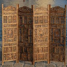 paravent 4 panel indian hand carved wooden screen room divider