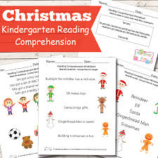 christmas reading comprehension worksheets for kindergarten itsy
