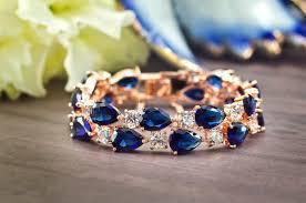 rose gold crystal bracelet images Sapphire blue bracelet rose gold bridal bracelet bridal cuff jpg
