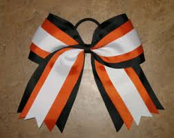 african american cheer hair bows new orange black white cheer hair bow pony tail 3 in ribbon girls