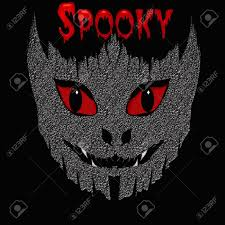 halloween background eyes spooky red eyes and white teeth black background stock photo