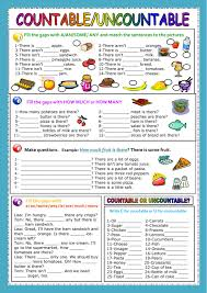 Countable And Uncountable Nouns Teaching Countable Uncountable Nouns Worksheet