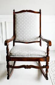 Nursery Upholstered Rocking Chairs by Furniture Dark Lacquered Pine Rocking Chair Which Decorated With