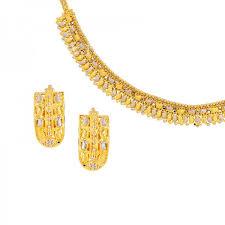 gold tone necklace set images Two tone 22k gold necklace set raj jewels jpg