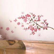 sakura flower wall stickers home decorations living room pvc sakura flower wall stickers home decorations living room pvc decals mural art diy bedroom tv background wedding gift wall stickers online with 2 96 piece