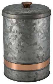 large kitchen canisters large galvanized canister with copper finish band industrial