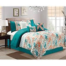 blue and orange bedding amazon com modern 7 piece quilted bedding turquoise blue beige