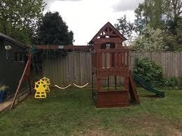 backyard discovery slide super cool backyard discovery atlantis cedar wooden swing set