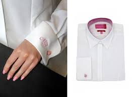 buy personalised womens monogrammed double cuff oxford blouse