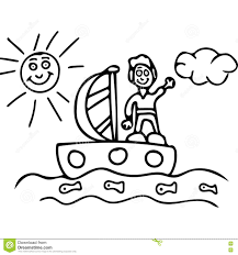 boy on the boat kids coloring pages stock illustration image