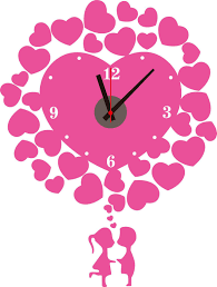 pvc pink heart decorative wall clock sticker home decoration wall see larger image
