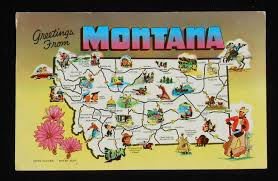Map Of Montana State by 1958 Montana State Map Icons Landmarks Flower Mt Postcard Ebay