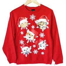 Ugliest Colors by Kitties In Santa Hats Crazy Cat Dude Ugly Christmas Sweatshirt
