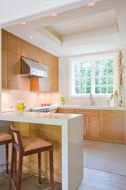 honey maple cabinets kitchen contemporary with airy bar birdseye