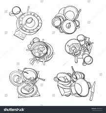 line set dirty kitchenware dishes wash stock vector 496265419