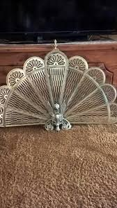 best vintage old brass fireplace screen peacock fan style with
