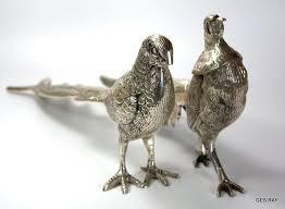 vintage silver coating pair of pheasants birds statuette figurine