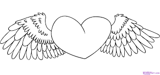 heart with wings coloring page coloring home