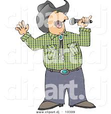 country music karaoke free clipart of a cartoon cowboy singing country music with microphone by