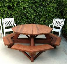 Plans For Wooden Picnic Tables by Octagon Picnic Table Wood Picnic Table With Attached Bench