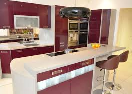 gorgeous modern purple and white themed kitchen design features