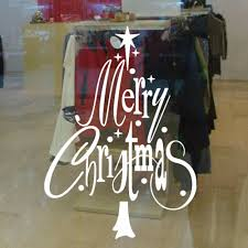 Decorative Window Decals For Home Christmas Tree Shape Letter Merry Christmas Sticker Xmas Decor For