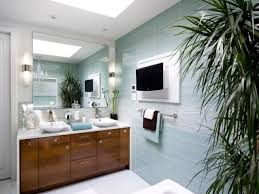 blue and brown bathroom sets white toilet on gray tile floor