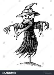 vintage black and white halloween images vector vintage halloween scarecrow hand drawn stock vector