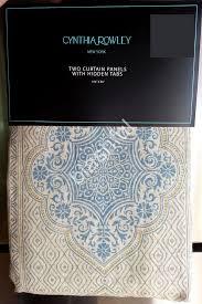 Cynthia Rowley Drapery New Cynthia Rowley Blue Mustard Medallion Damask Window Curtain