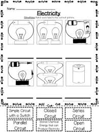 electricity types of circuits cut and paste matching activity tpt