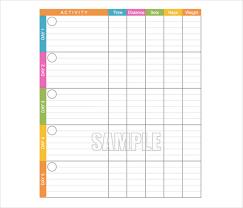 exercise log template printable weekly workout log template 5