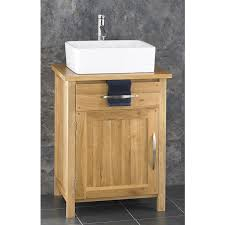 Bathroom Furniture Oak Contemporary Finish Solid Oak Wide Single Door Cabinet