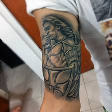cool warrior guardian angel tattoo mens arms christian tattoos