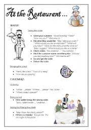 english teaching worksheets at the restaurant
