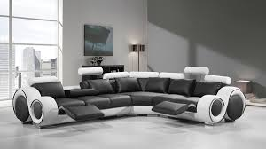 Divani Casa 4087 Modern Black And White Bonded Leather Sectional