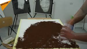 algerian artist paints with coffee salt and coal youtube