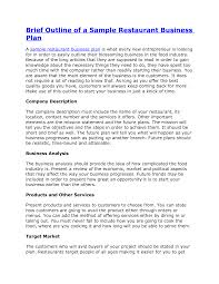 Project Plan Outline Template Free by Sample Full Service Restaurant Business Plan